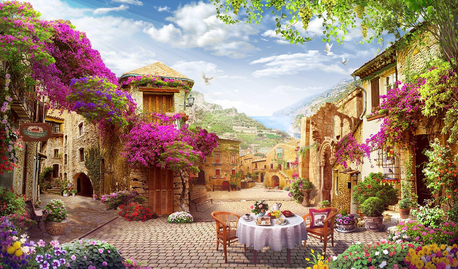 Фотообои улочка с цветами