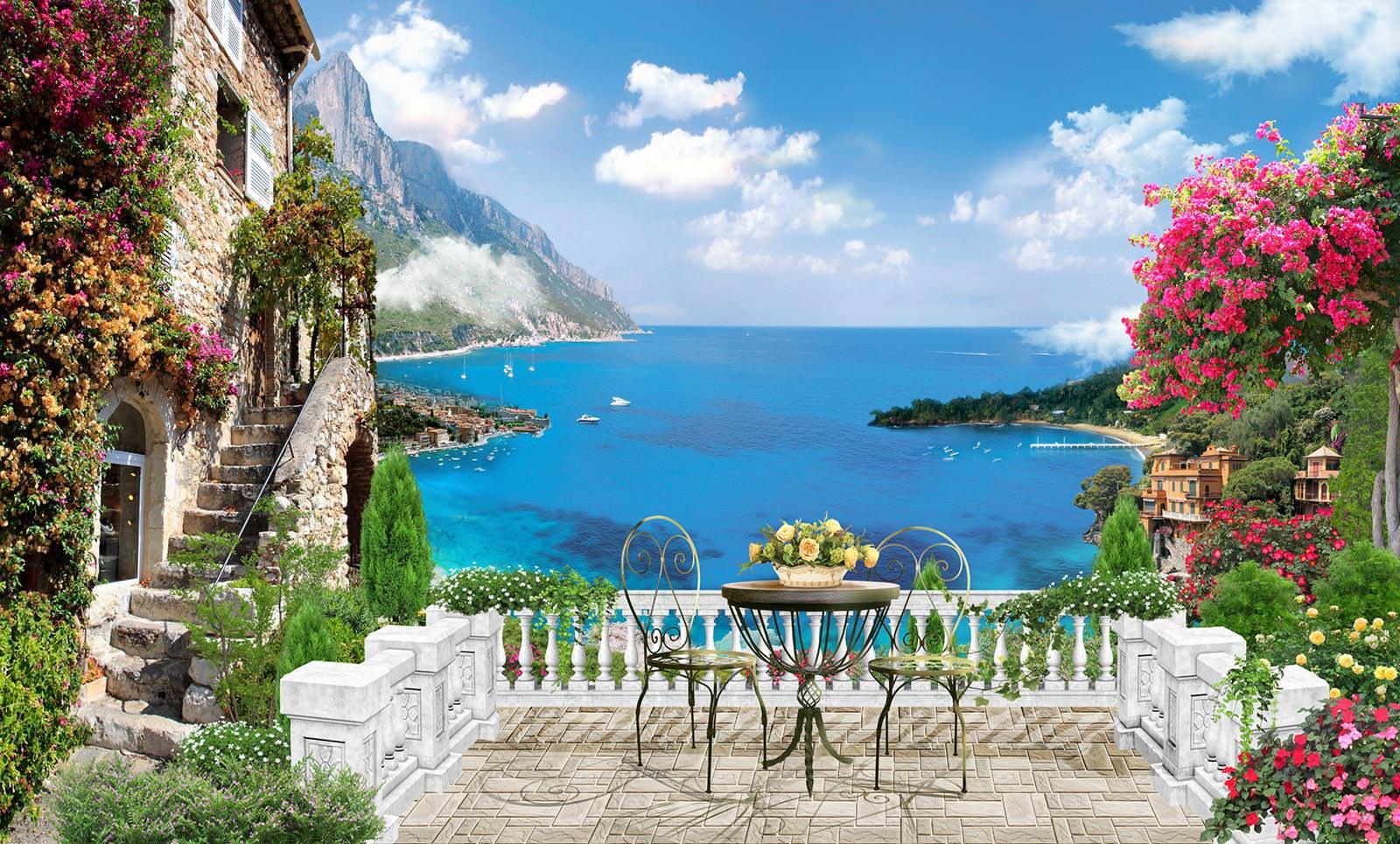 Вид с балкона на море - фотообои по вашим размерам на стену .