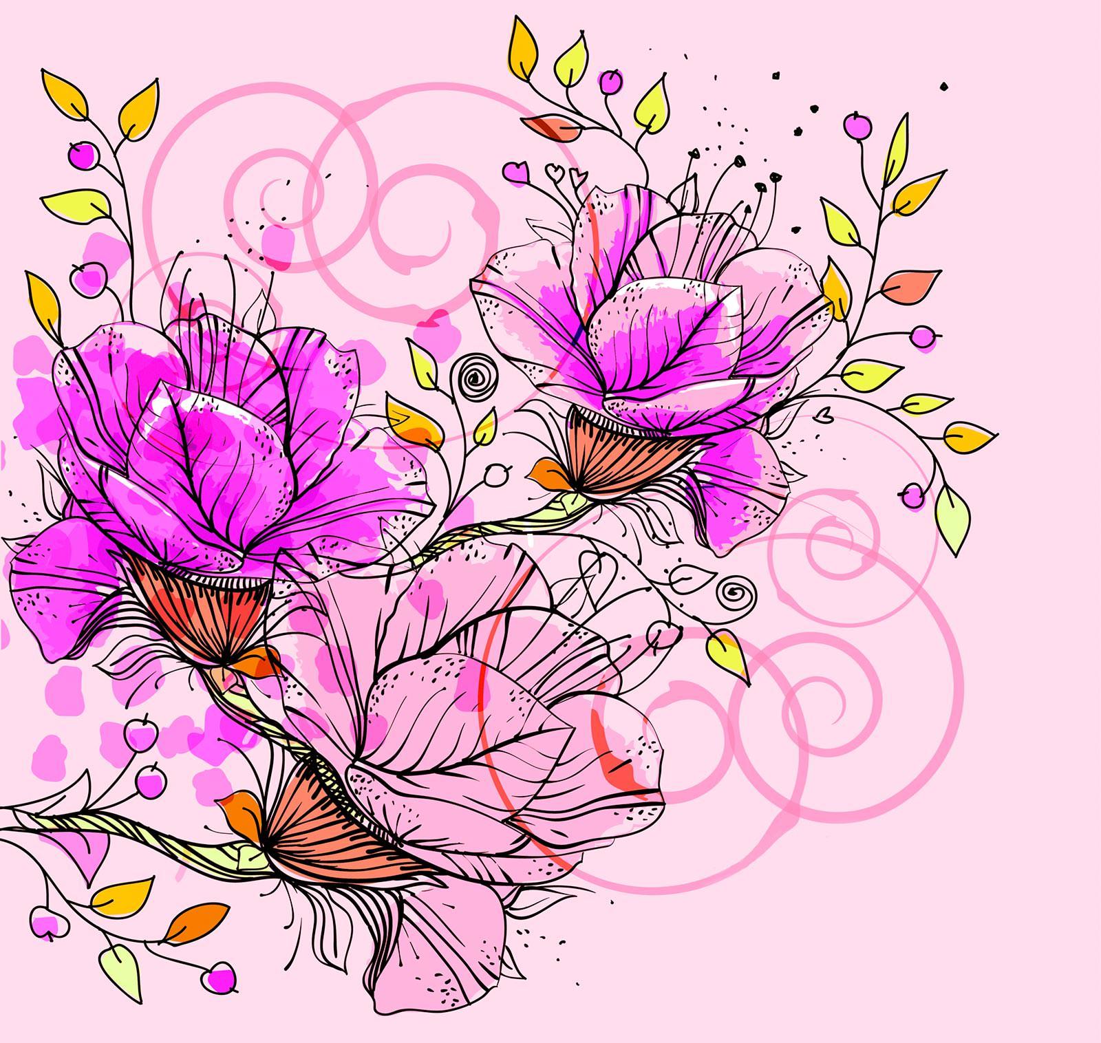 Виде, цветы и открытка в векторе