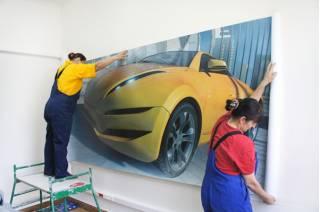 Монтаж фрески в интерьере