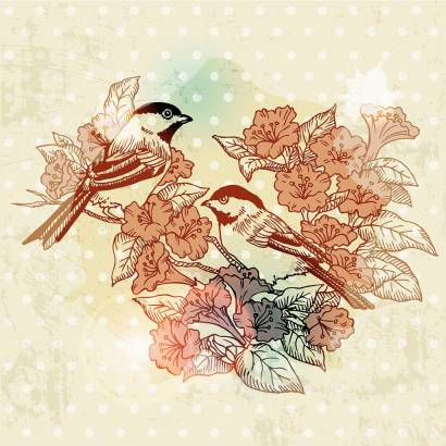 Фотообои Птицы на ветке | арт.10516
