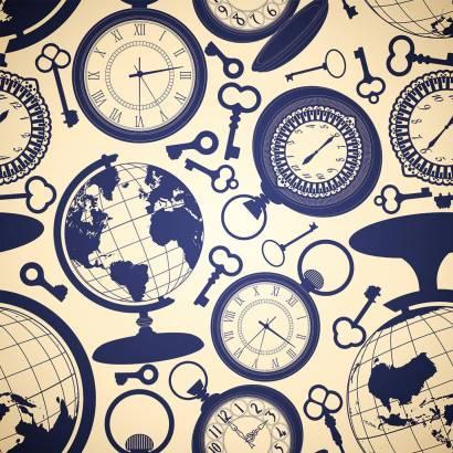 Фотообои Векторный орнамент с часами и глобусом | арт.10579