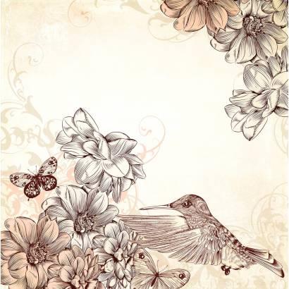 Фотообои Колибри и цветы | арт.10681