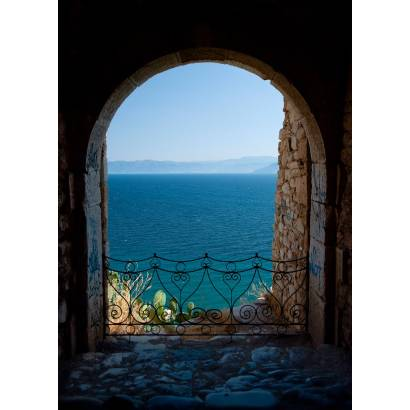 Фотообои Вид через арку на озеро и горы | арт.11164