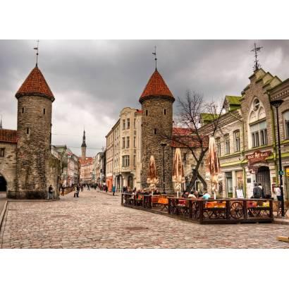 Фотообои Улица  Таллина с двумя башнями | арт.11174