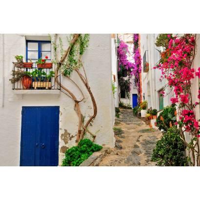 Фотообои Улица, увитая яркими цветами | арт.11177