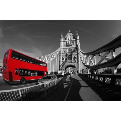 Фотообои Лондон. Автобус на мосту. | арт.11369
