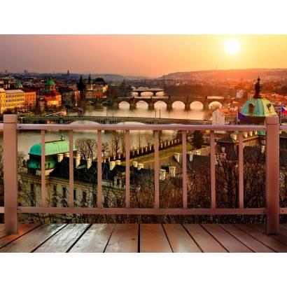 Фотообои Вид с балкона на вечернюю Прагу | арт.11376