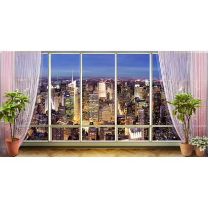 Фотообои Окно с видом на мегаполис | арт.11414