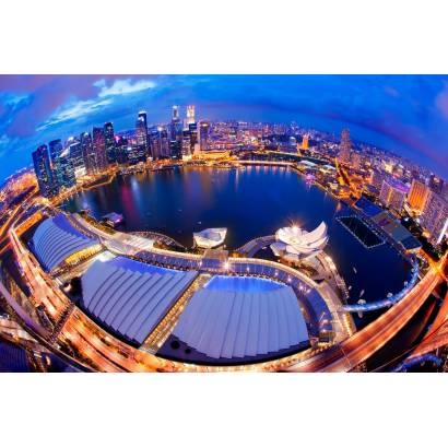 Фотообои Ночной Сингапур | арт.12327