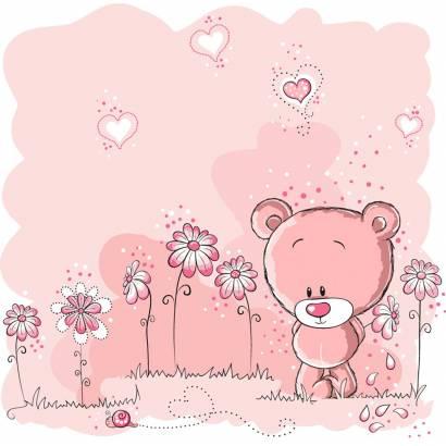 Фотообои Розовый Мишка | арт.14233