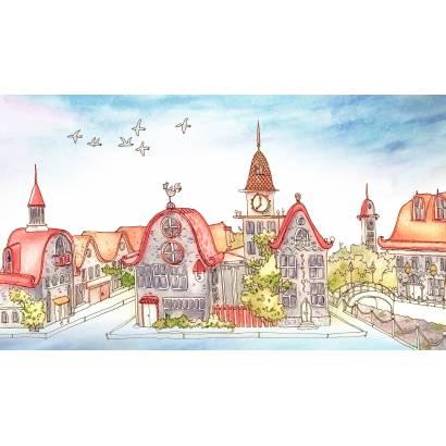 Фотообои Рисованный городок | арт.14382