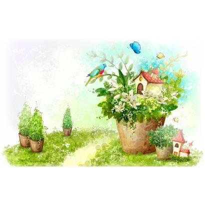 Фотообои Домик в цветочном горшке | арт.14416