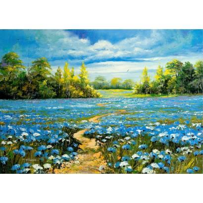 Фотообои Поле с голубыми цветами | арт.173