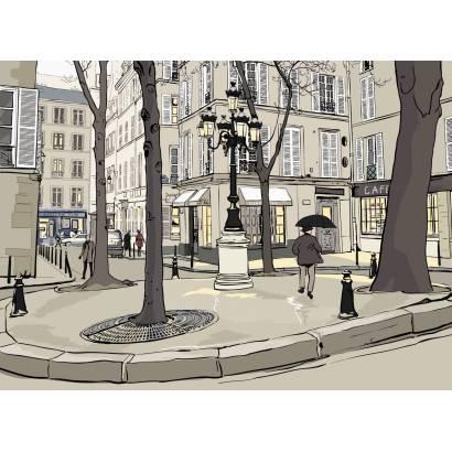 Фотообои Парижская улочка Вектор | арт.1760