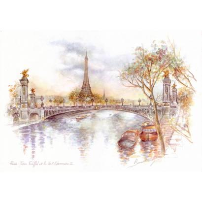 Фотообои Париж. Акварель | арт.1775