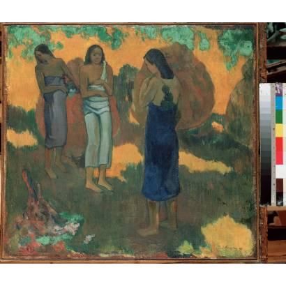 Фотообои Три Таитянки На Желтом Фоне | арт.18185
