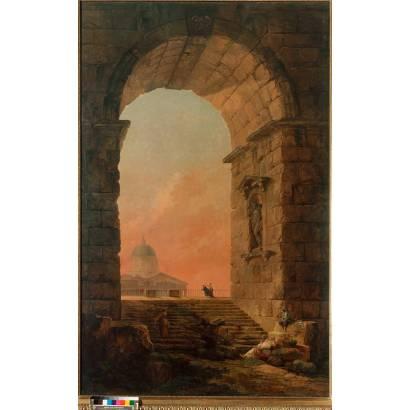 Фотообои Пейзаж С Аркой И Куполом Собора Св. Петра В Риме | арт.18261