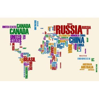 Фотообои Карта мира из названий стран | арт.1991