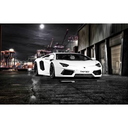 Фотообои Lamborghini Capristo в ночном городе | арт.25246