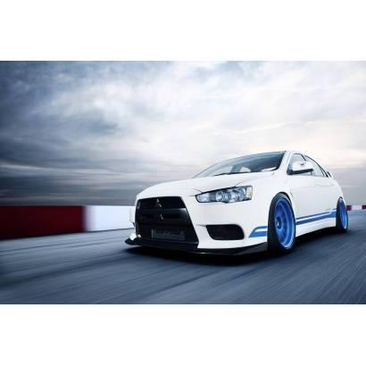 Фотообои Белое авто с синими дисками | арт.25268