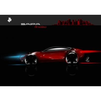 Фотообои Красная машина. Графика | арт.25276