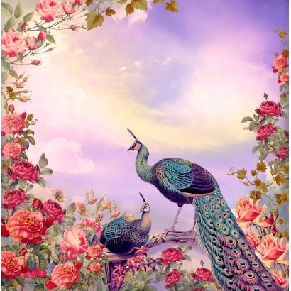 Фотообои Павлин и цветы | арт.2611