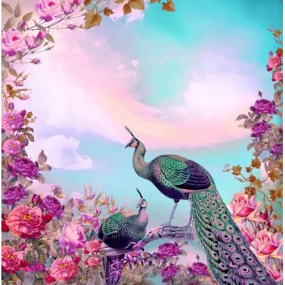 Фотообои Павлин и цветы | арт.2612