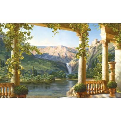 Фотообои Терраса на берегу горного озера | арт.26177
