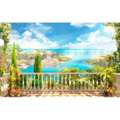 Фотообои Балкон с видом на приморский город | арт.26184
