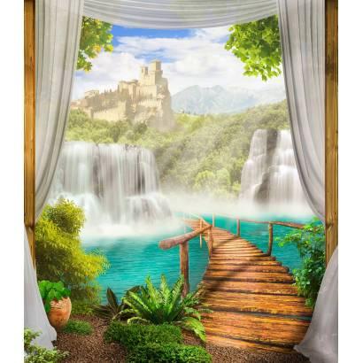 Фотообои Мостик, ведущий к водопаду | арт.26197