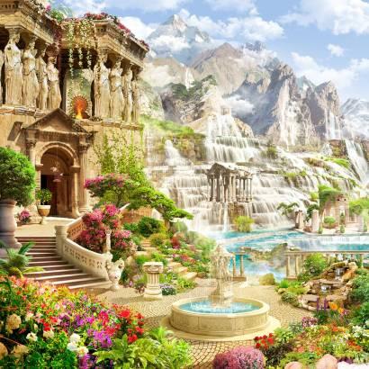 Фотообои Античный храм на фоне водопадов | арт.26260