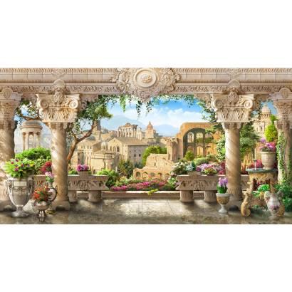 Фотообои Терраса с колоннами с видом на  город | арт.26261