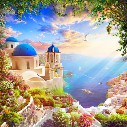 Фотообои Остров Санторини | арт.26263