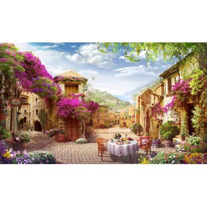 Фотообои Нарядная улочка в цветах | арт.26268