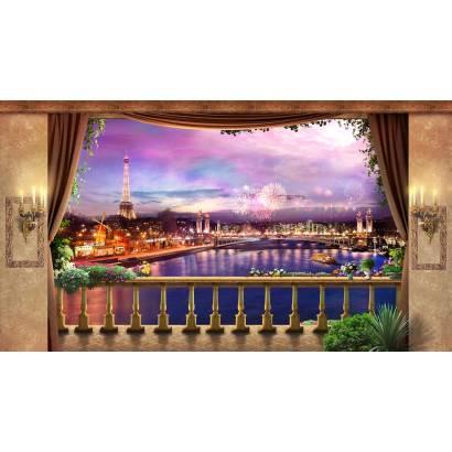 Фотообои Ночной Париж. Вид с балкона   арт.26284