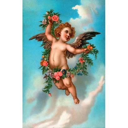 Фотообои Парящий ангелочек с цветами | арт.2668