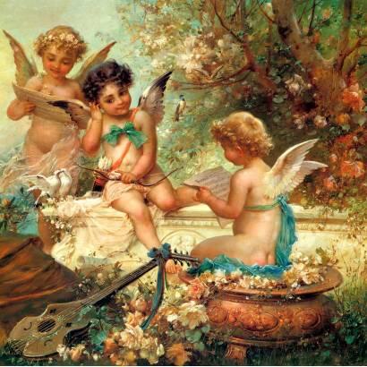 Фотообои Три маленьких ангела в саду | арт.2682