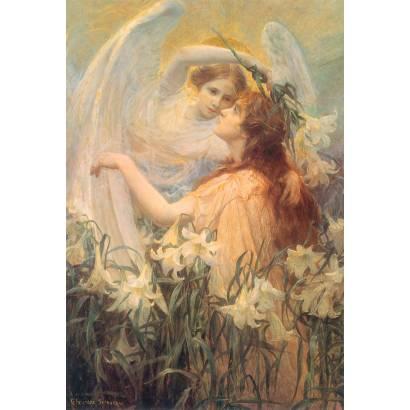 Фотообои Ангел и девушка в цветах | арт.2690