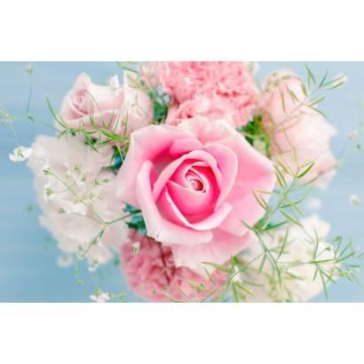 Фотообои Букет цветов на нежно-голубом фоне | арт.28604