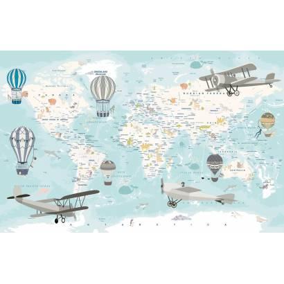 Фотообои Карта с аэропланами - каталог: Детские обои и карты | арт.14463
