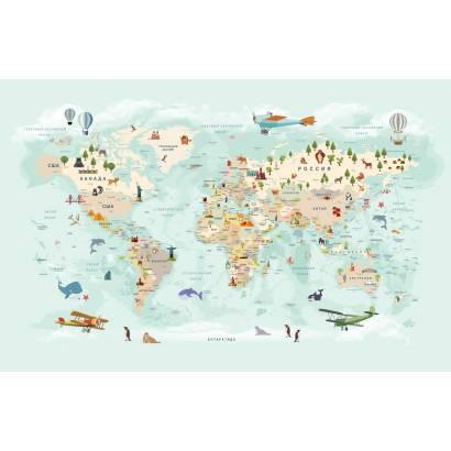 Фотообои Карта на русском языке - каталог: Детские обои и карты | арт.14464