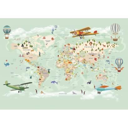 Фотообои Карта на русском языке - каталог: Детские обои и карты | арт.14465