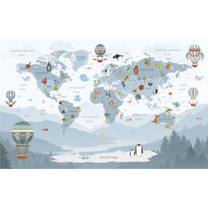 Фотообои Карта на русском языке - каталог: Детские обои и карты | арт.14466
