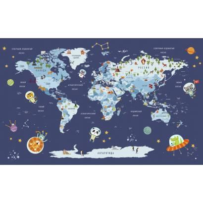 Фотообои Карта на русском языке - каталог: Детские обои и карты | арт.14469