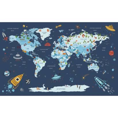 Фотообои Карта на русском языке - каталог: Детские обои и карты | арт.14470