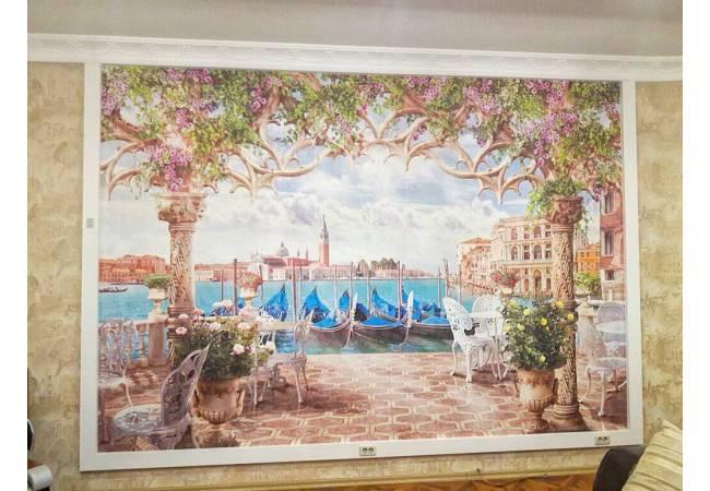 Фотообои Кафе с видом на Венецианский канал в интерьере | арт.11433
